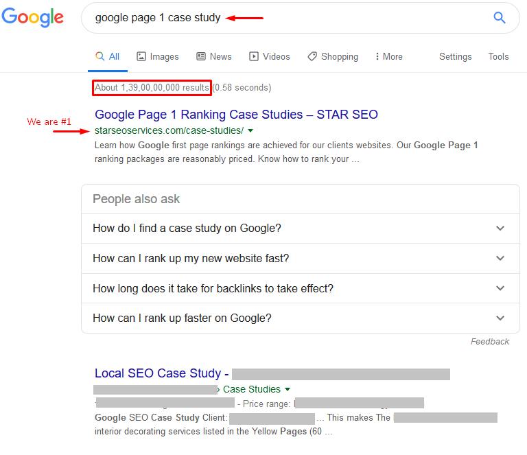 google page 1 case study